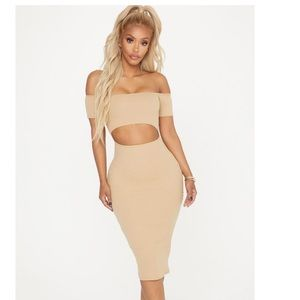 Ribbed cutout midi dress